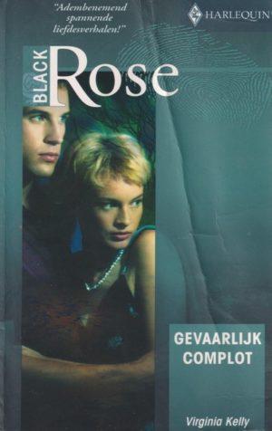 kaft boek vrouw houd zich angstig vast aan man groene kleur kaft Black Rose 81 Virginia Kelly Gevaarlijk complot