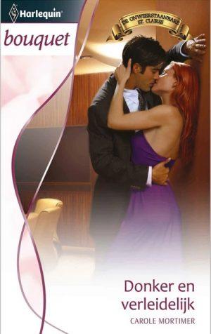 vrouw paarse jurk man zwart pak kusen