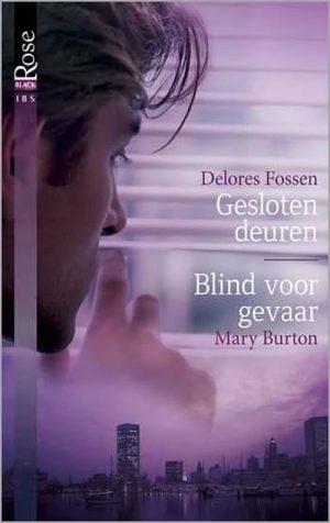 man kijkt door Luxaflex onergronder skyline van stad paars is de hoofdkleur Delores Fossen Gesloten deuren Mary Burton Blind voor gevaar