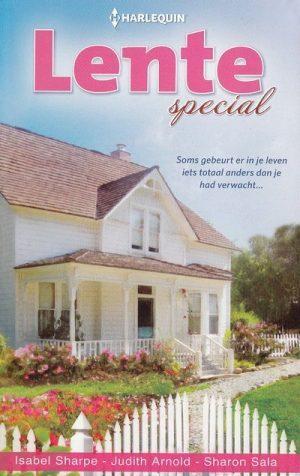kaft boek mooi wit oud romantisch houten huis met bloementuin en wit hek Harlequin Lente Special 108