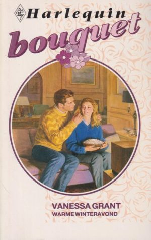 kaft boek man en vrouw op bank vrouw houd bak popcorn vast Vanessa Grant Warme winteravond Bouquet 1368