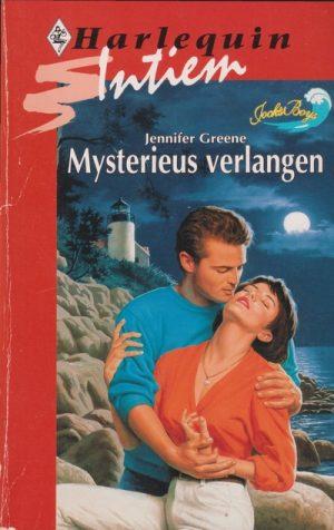 man blauwe trui vrouw oranje blouse op achtergrond vuurtoren rotsen en zee Jennifer Greene Mysterieus verlangen Harlequin Intiem Roman 661